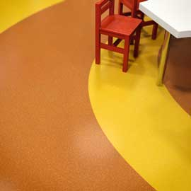 PVC Boden Uni Gelb u. orange Pop Art Kreise Detail online kaufen